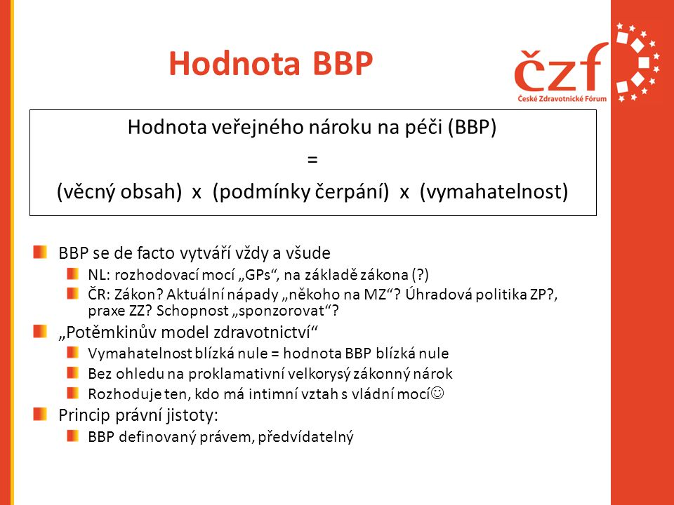 Hodnota BBP Hodnota veřejného nároku na péči (BBP) =
