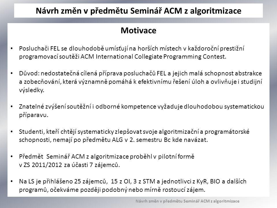 Návrh změn v předmětu Seminář ACM z algoritmizace Motivace