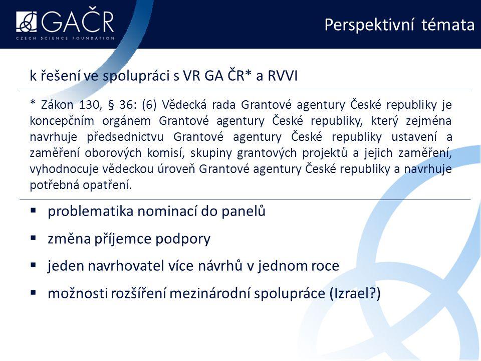 Perspektivní témata k řešení ve spolupráci s VR GA ČR* a RVVI