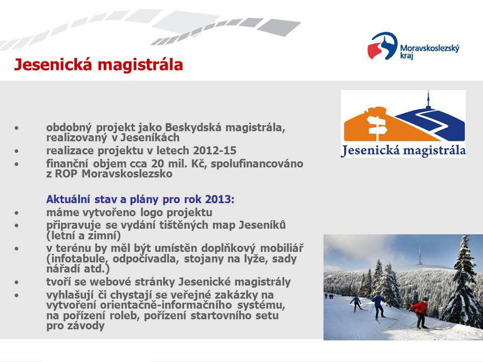 Jednání s TIC Jesenická magistrála. obdobný projekt jako Beskydská magistrála, realizovaný v Jeseníkách.