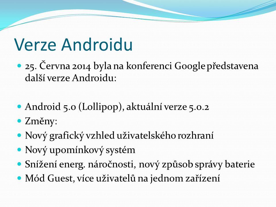 Verze Androidu 25. Června 2014 byla na konferenci Google představena další verze Androidu: Android 5.0 (Lollipop), aktuální verze 5.0.2.