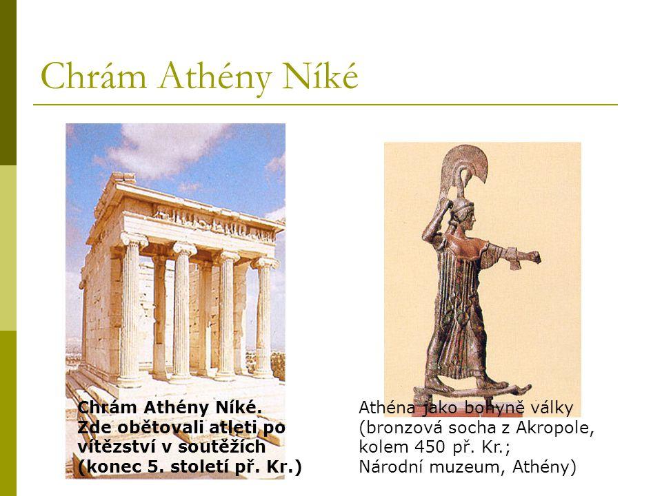 Chrám Athény Níké Chrám Athény Níké. Zde obětovali atleti po vítězství v soutěžích (konec 5. století př. Kr.)