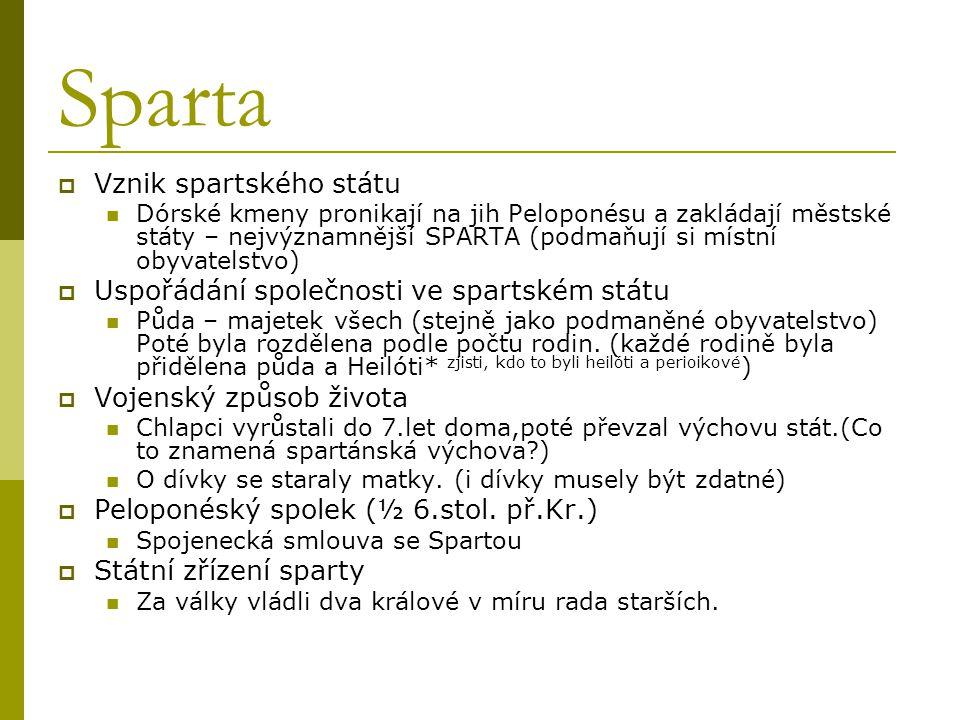 Sparta Vznik spartského státu