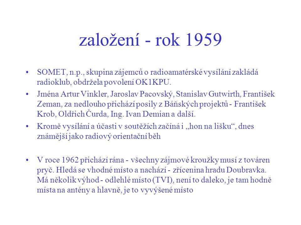 založení - rok 1959 SOMET, n.p., skupina zájemců o radioamatérské vysílání zakládá radioklub, obdržela povolení OK1KPU.