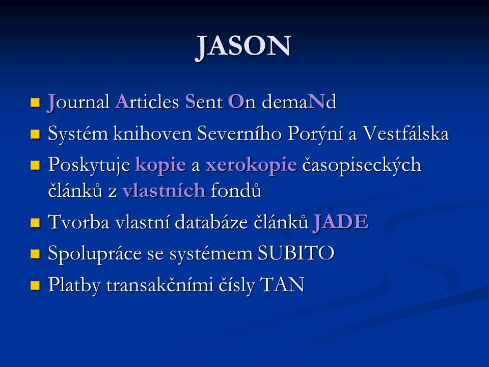 JASON Journal Articles Sent On demaNd