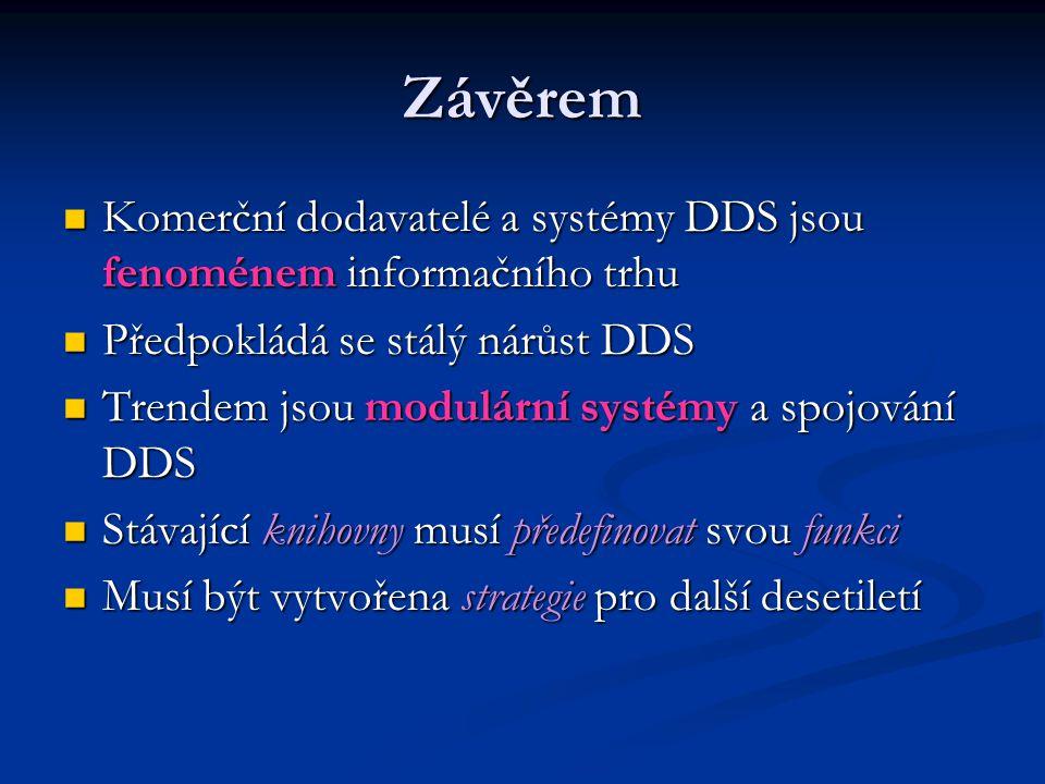 Závěrem Komerční dodavatelé a systémy DDS jsou fenoménem informačního trhu. Předpokládá se stálý nárůst DDS.