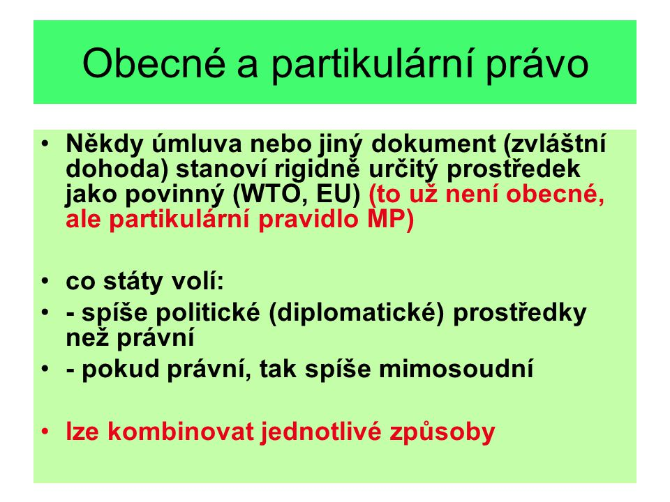 Obecné a partikulární právo