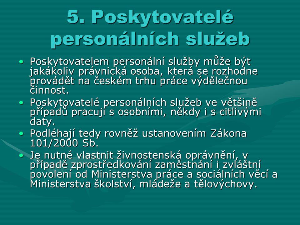 5. Poskytovatelé personálních služeb