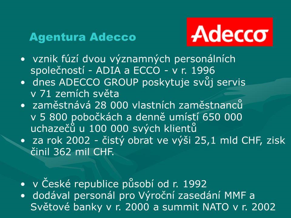 Agentura Adecco vznik fúzí dvou významných personálních