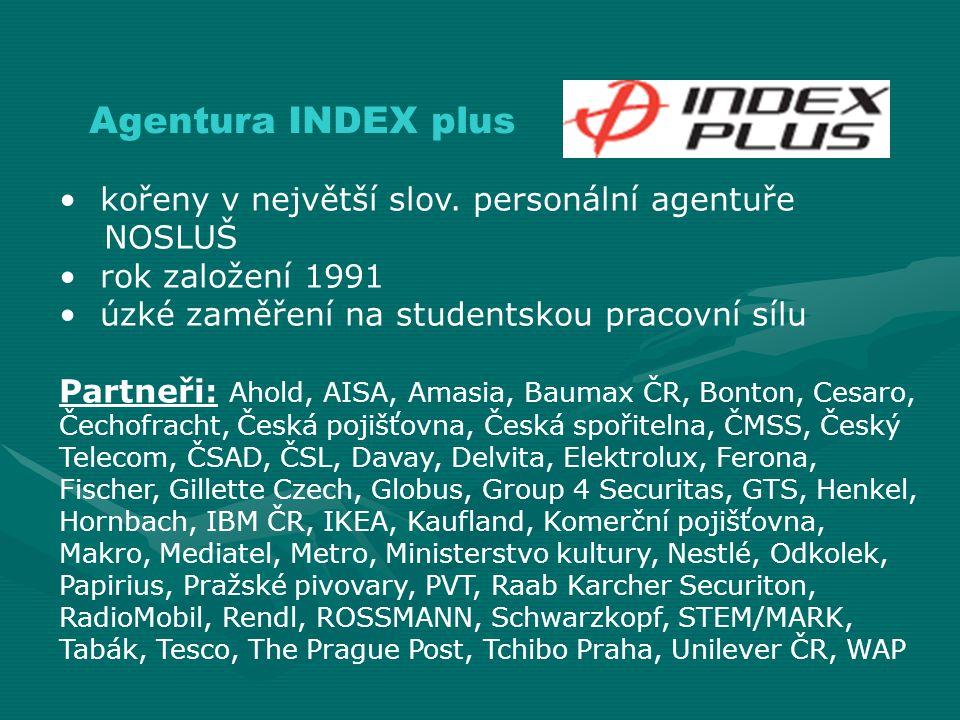 Agentura INDEX plus kořeny v největší slov. personální agentuře NOSLUŠ