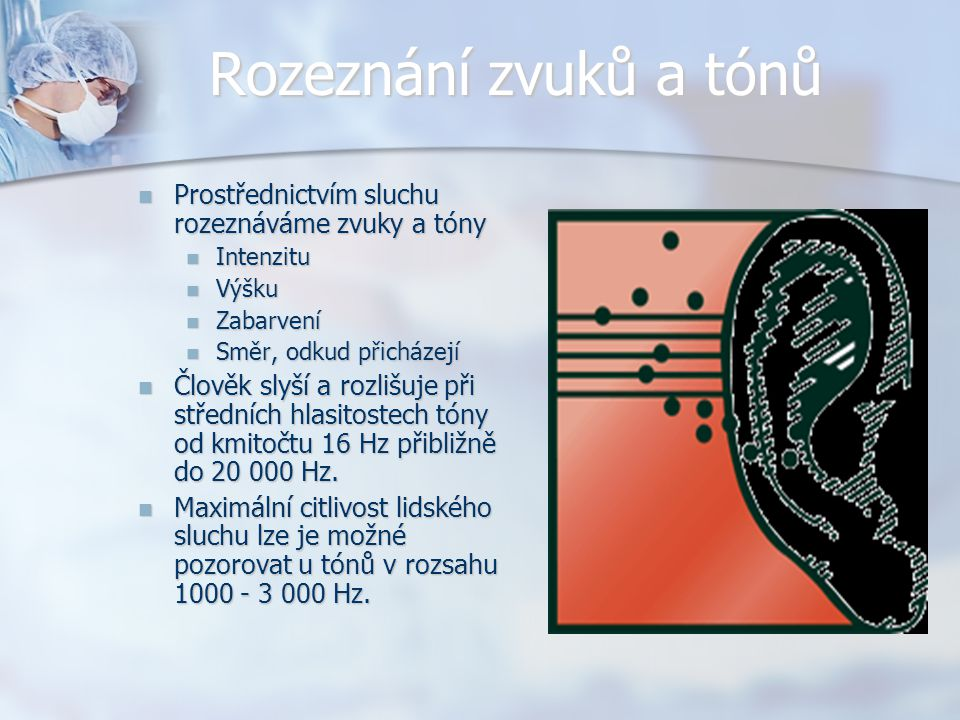 Rozeznání zvuků a tónů Prostřednictvím sluchu rozeznáváme zvuky a tóny