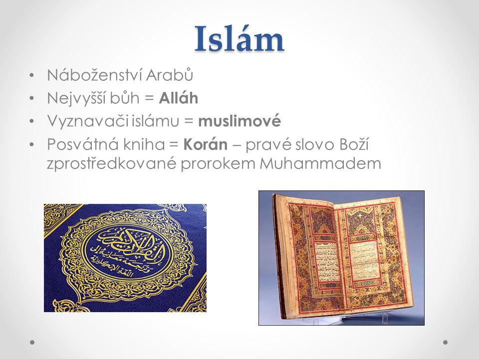 Islám Náboženství Arabů Nejvyšší bůh = Alláh