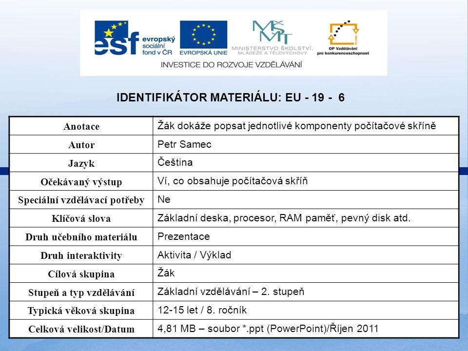 Identifikátor materiálu: EU - 19 - 6
