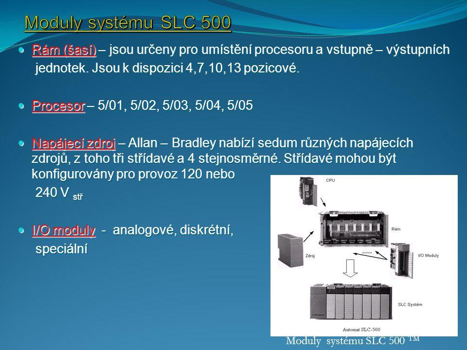 Moduly systému SLC 500 Rám (šasí) – jsou určeny pro umístění procesoru a vstupně – výstupních. jednotek. Jsou k dispozici 4,7,10,13 pozicové.