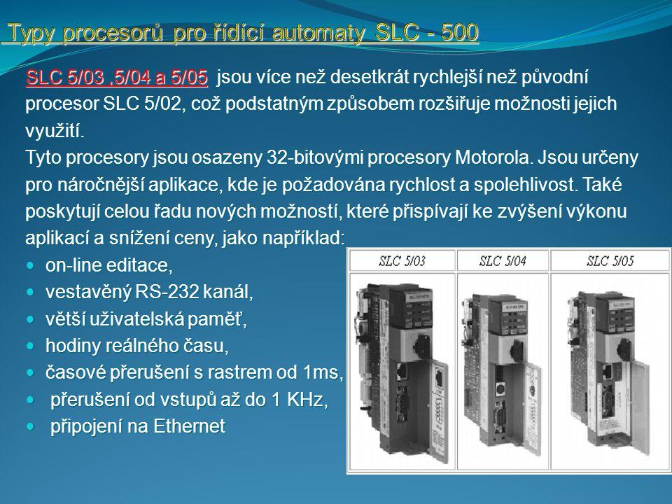 Typy procesorů pro řídící automaty SLC - 500