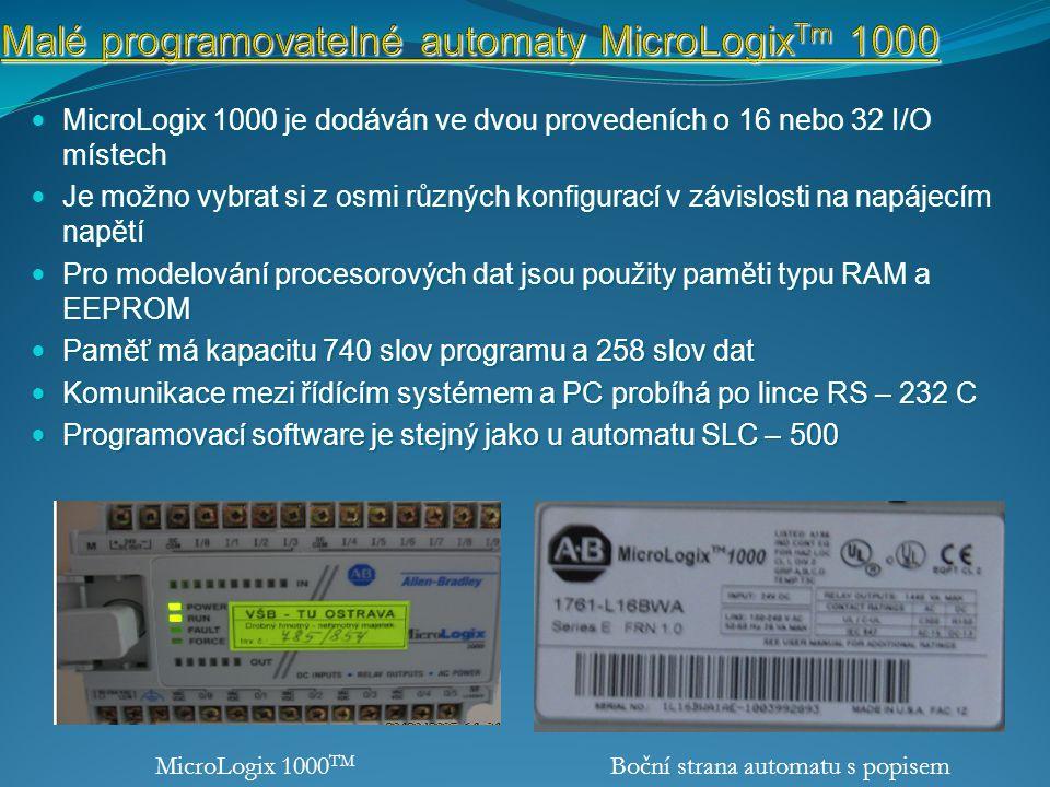 Malé programovatelné automaty MicroLogixTm 1000