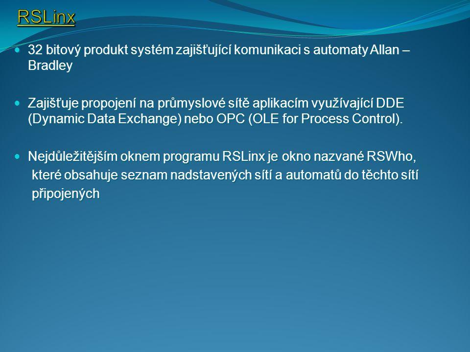 RSLinx 32 bitový produkt systém zajišťující komunikaci s automaty Allan – Bradley.