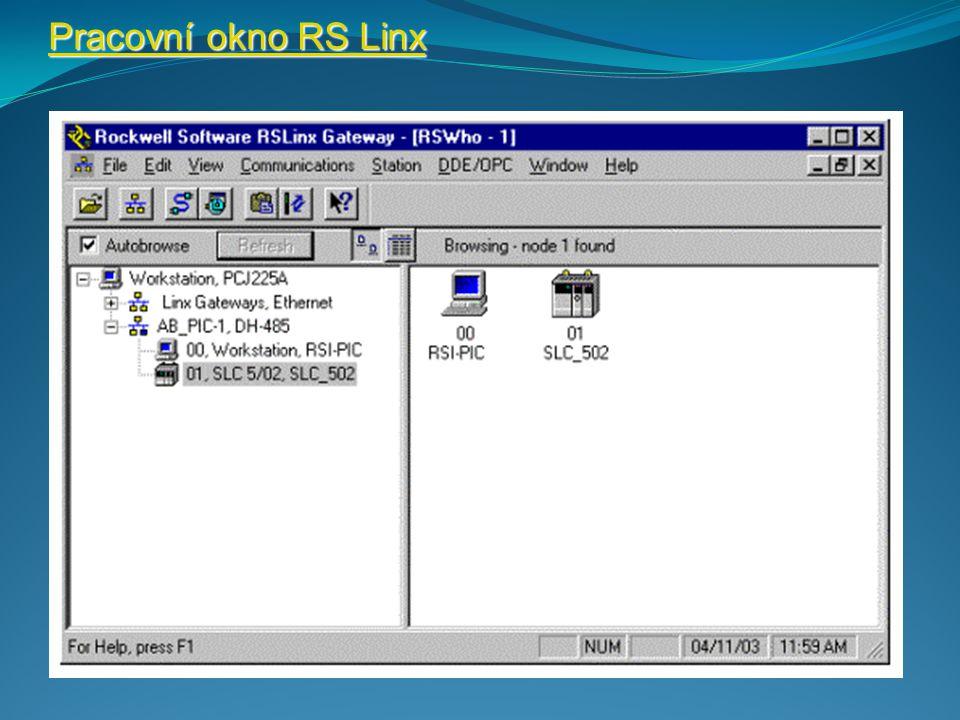 Pracovní okno RS Linx