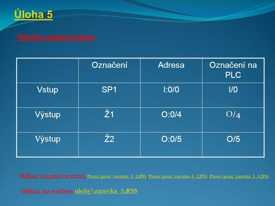 Úloha 5 Označení Adresa Označení na PLC Vstup SP1 I:0/0 I/0 Výstup Ž1