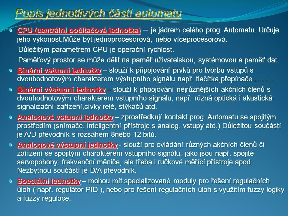 Popis jednotlivých částí automatu