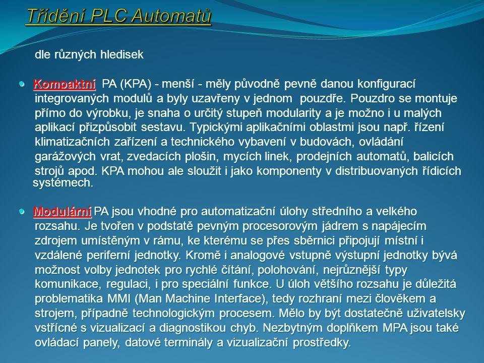 Třídění PLC Automatů dle různých hledisek