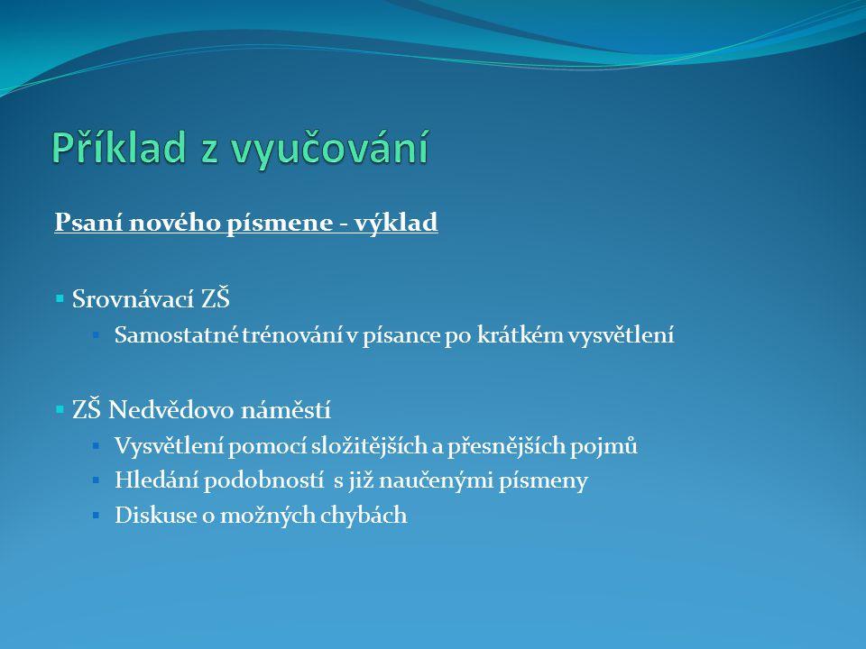 Příklad z vyučování Psaní nového písmene - výklad Srovnávací ZŠ