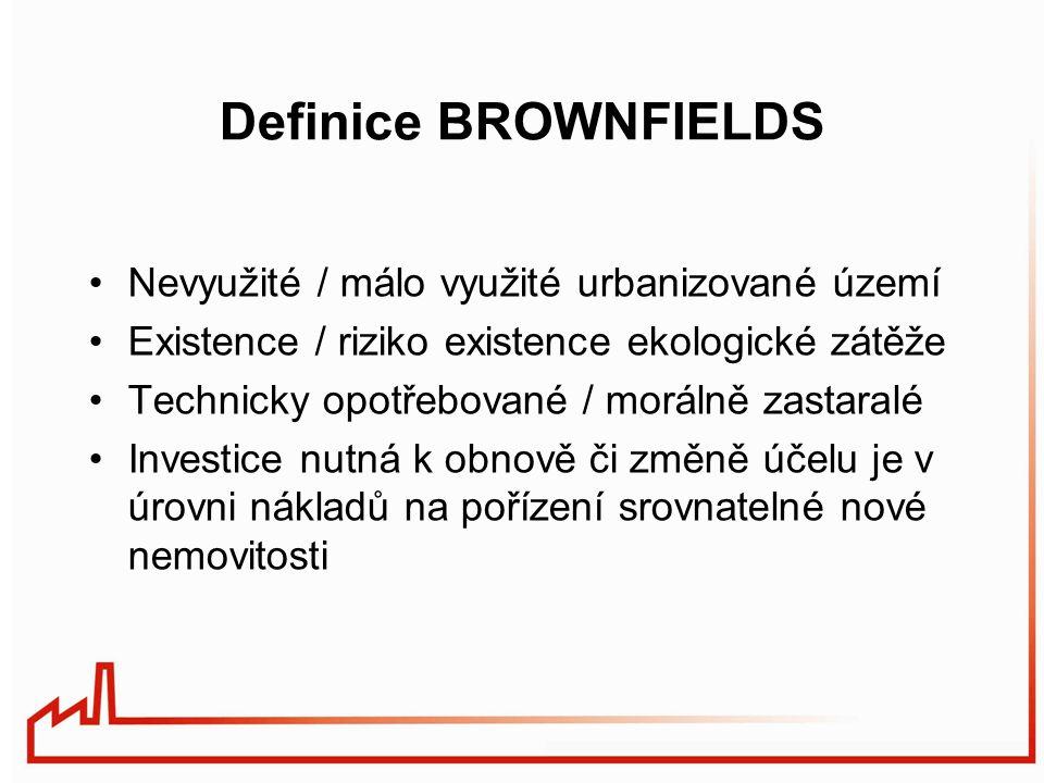 Definice BROWNFIELDS Nevyužité / málo využité urbanizované území