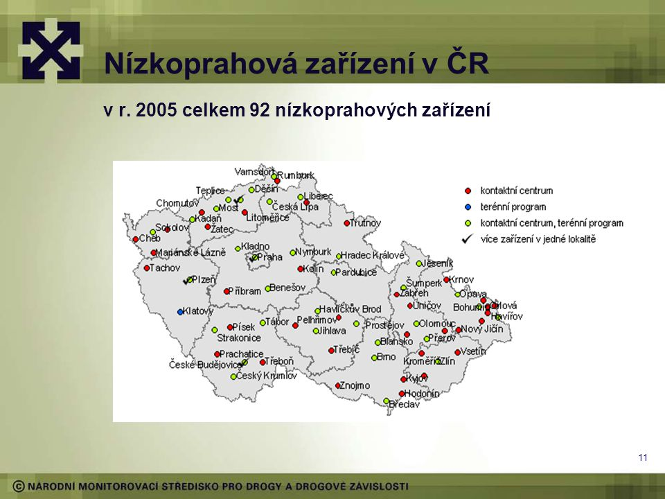 Nízkoprahová zařízení v ČR v r. 2005 celkem 92 nízkoprahových zařízení