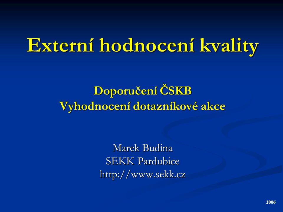 Externí hodnocení kvality Doporučení ČSKB Vyhodnocení dotazníkové akce