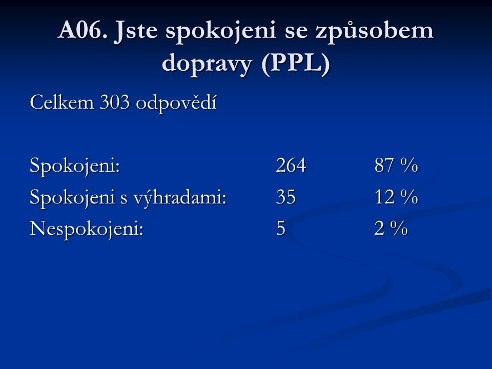 A06. Jste spokojeni se způsobem dopravy (PPL)