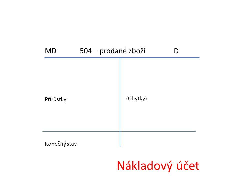 Nákladový účet MD 504 – prodané zboží D Přírůstky (Úbytky)