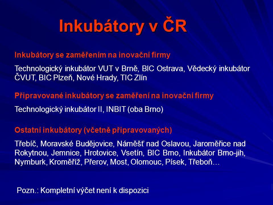 Inkubátory v ČR Inkubátory se zaměřením na inovační firmy
