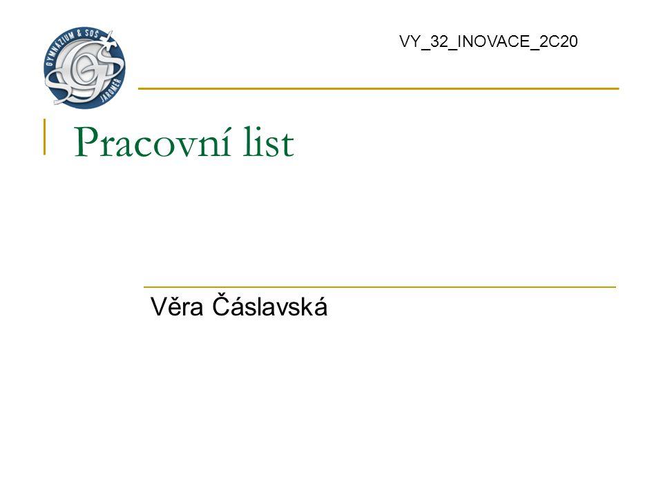 VY_32_INOVACE_2C20 Pracovní list Věra Čáslavská