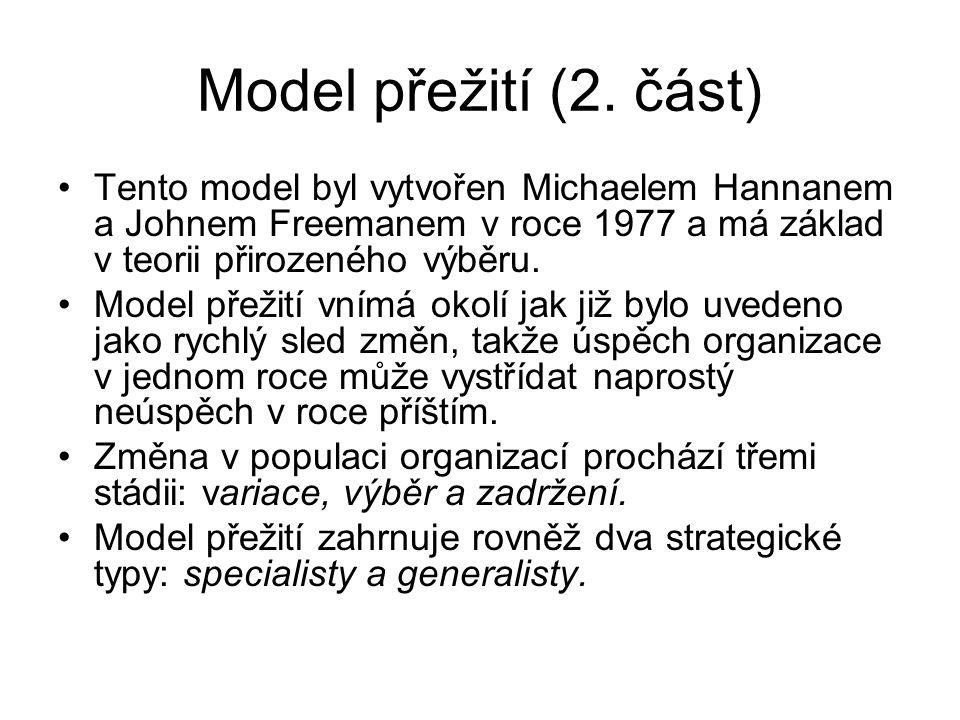 Model přežití (2. část) Tento model byl vytvořen Michaelem Hannanem a Johnem Freemanem v roce 1977 a má základ v teorii přirozeného výběru.