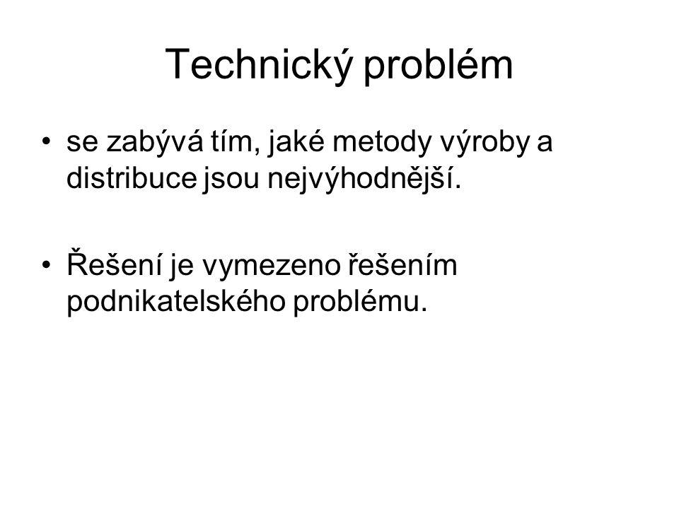 Technický problém se zabývá tím, jaké metody výroby a distribuce jsou nejvýhodnější.