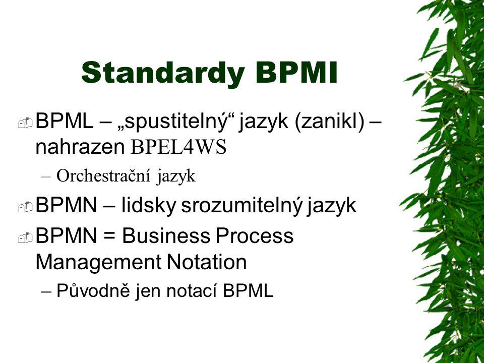 """Standardy BPMI BPML – """"spustitelný jazyk (zanikl) – nahrazen BPEL4WS"""