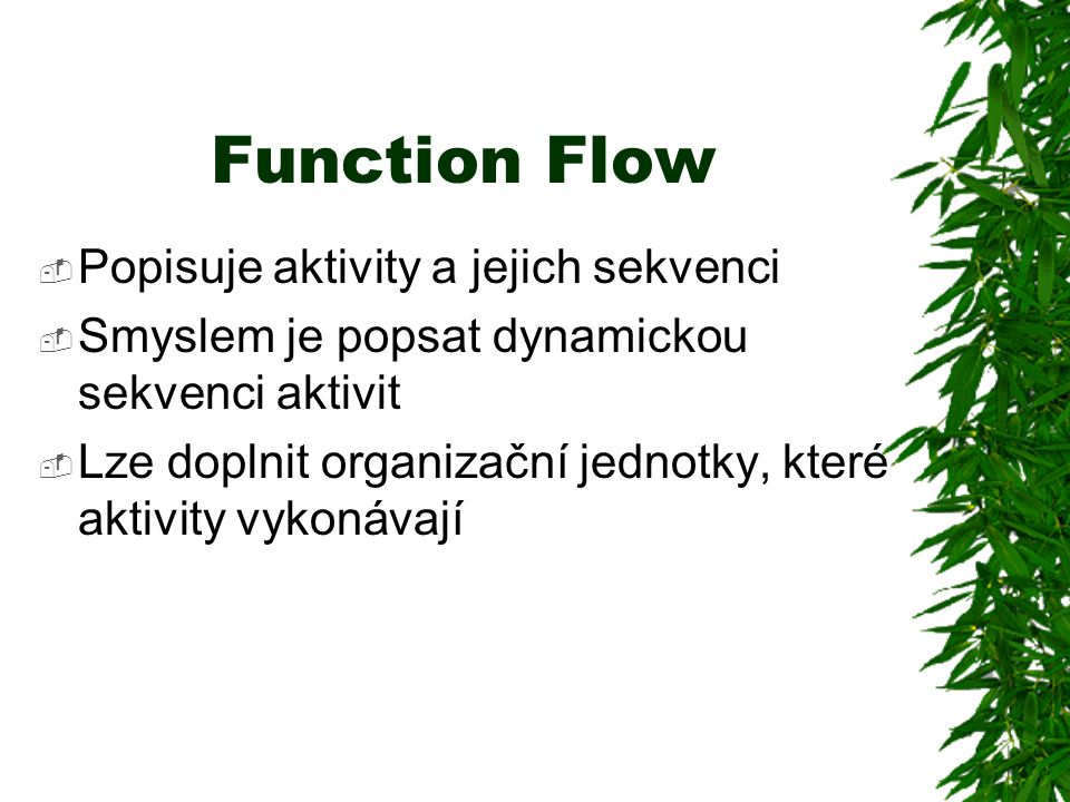 Function Flow Popisuje aktivity a jejich sekvenci