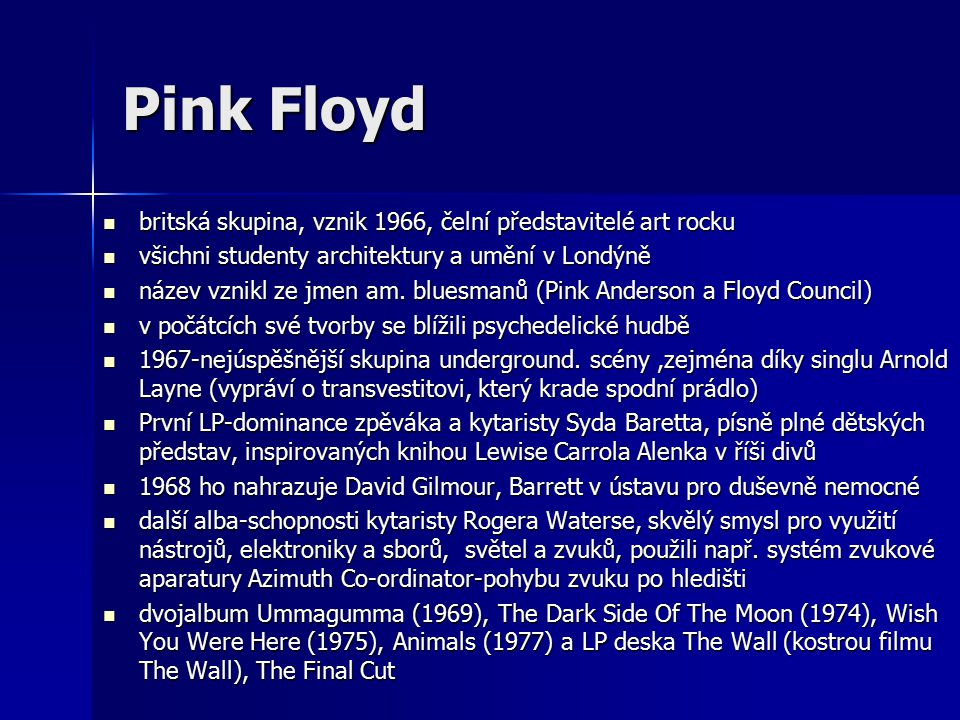 Pink Floyd britská skupina, vznik 1966, čelní představitelé art rocku