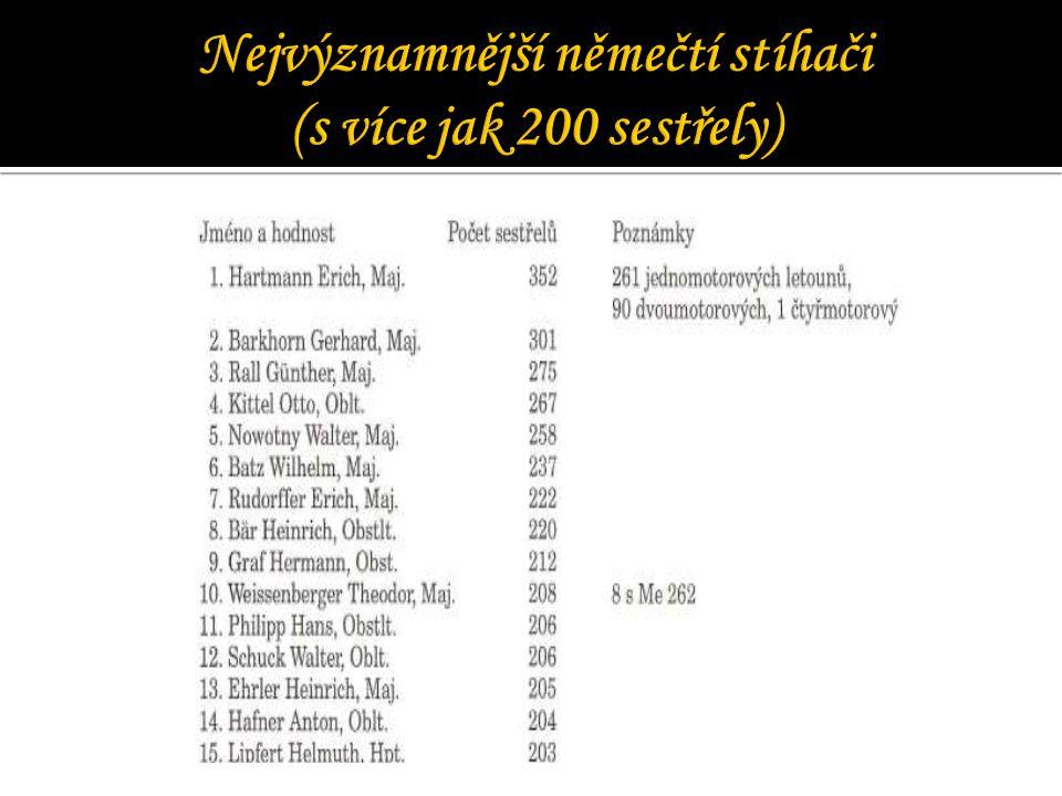 Nejvýznamnější němečtí stíhači (s více jak 200 sestřely)