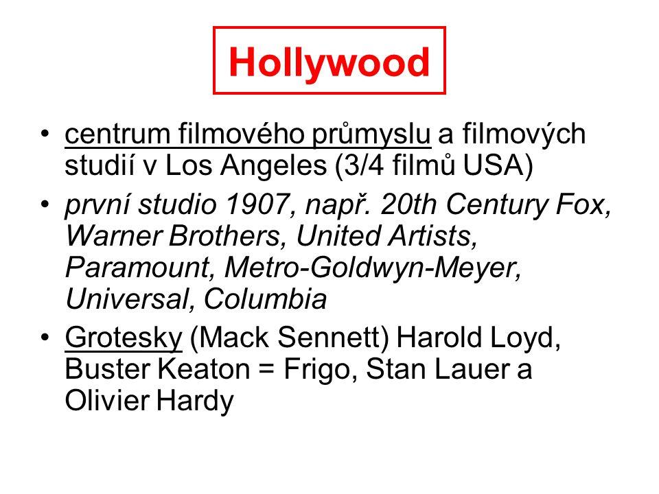 Hollywood centrum filmového průmyslu a filmových studií v Los Angeles (3/4 filmů USA)
