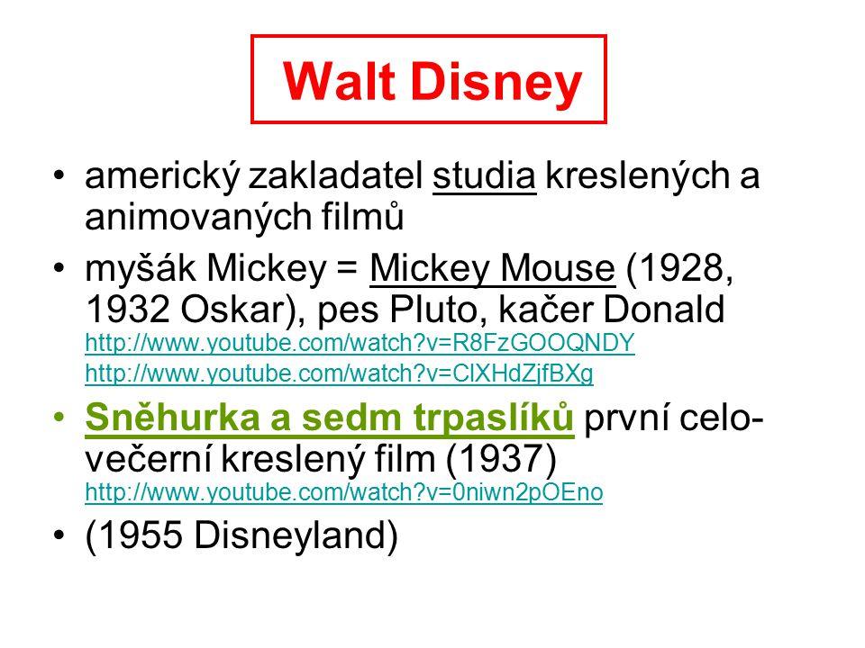 Walt Disney americký zakladatel studia kreslených a animovaných filmů