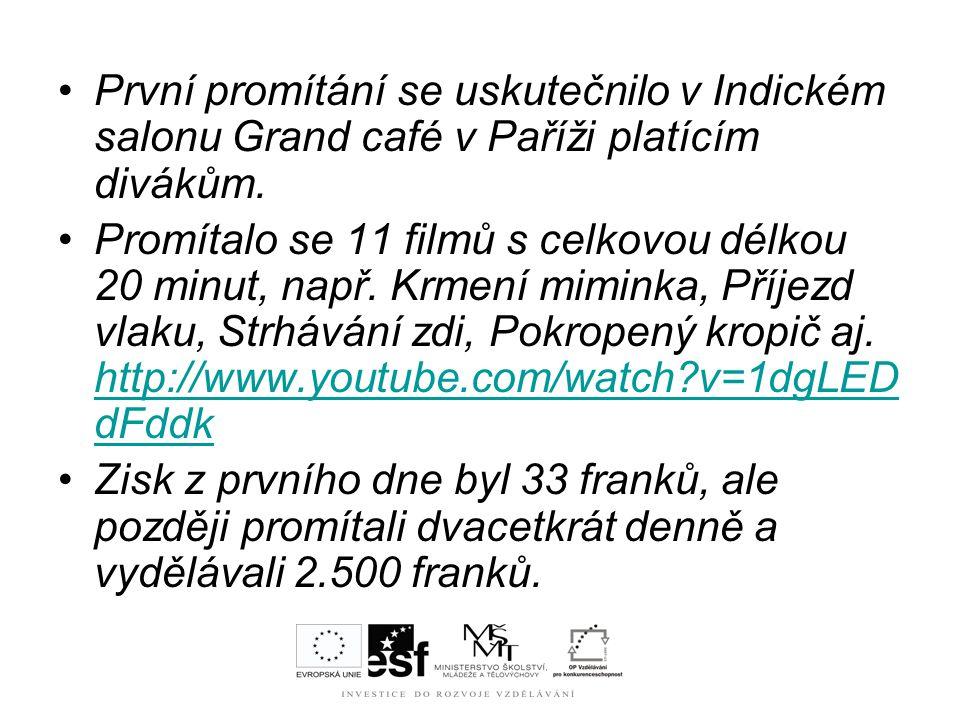 První promítání se uskutečnilo v Indickém salonu Grand café v Paříži platícím divákům.