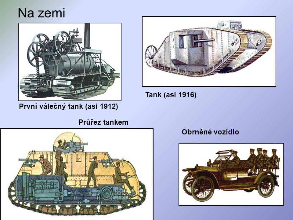 Na zemi Tank (asi 1916) První válečný tank (asi 1912) Průřez tankem