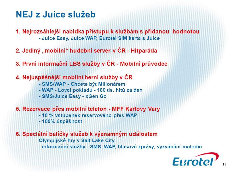 NEJ z Juice služeb 1. Nejrozsáhlejší nabídka přístupu k službám s přidanou hodnotou. - Juice Easy, Juice WAP, Eurotel SIM karta s Juice.