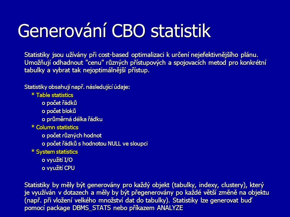 Generování CBO statistik