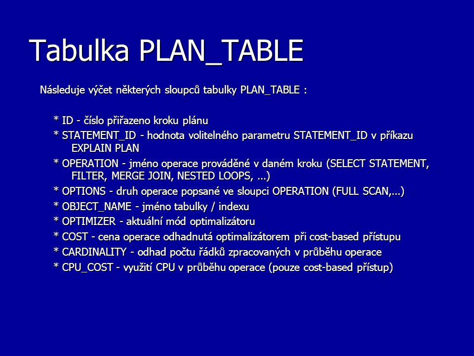 Tabulka PLAN_TABLE Následuje výčet některých sloupců tabulky PLAN_TABLE : * ID - číslo přiřazeno kroku plánu.
