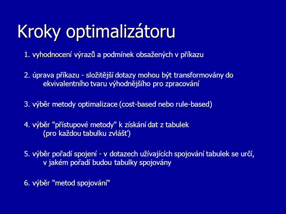 Kroky optimalizátoru 1. vyhodnocení výrazů a podmínek obsažených v příkazu.
