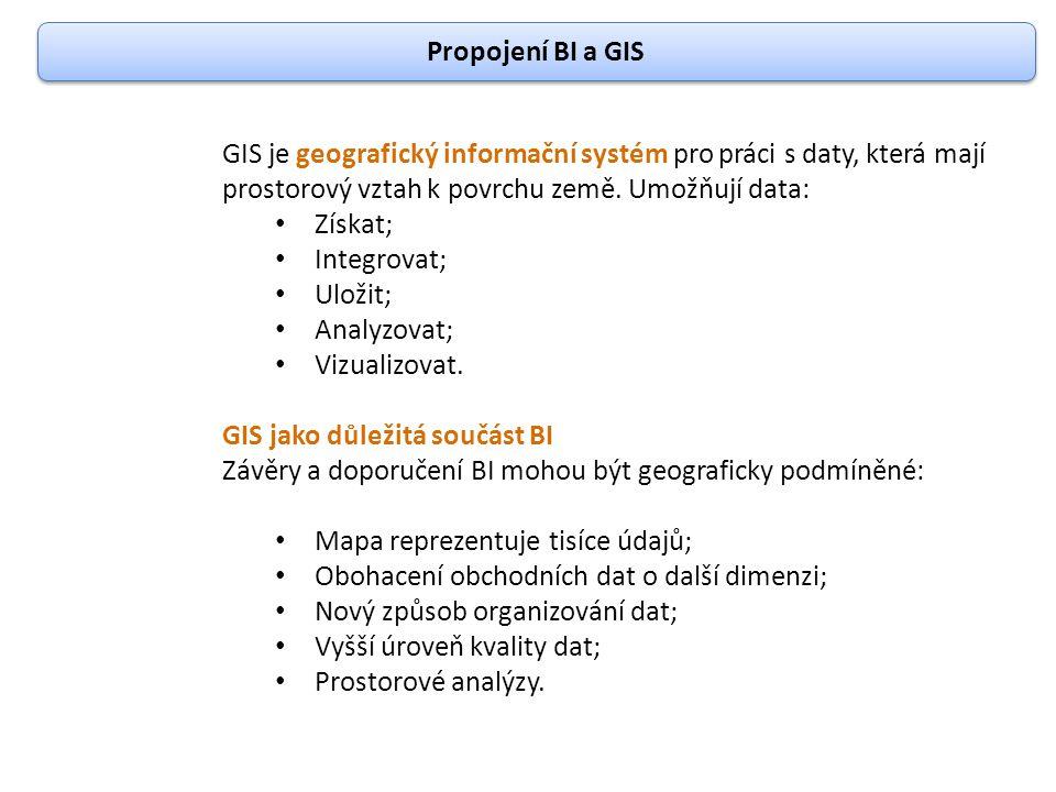 Propojení BI a GIS GIS je geografický informační systém pro práci s daty, která mají prostorový vztah k povrchu země. Umožňují data: