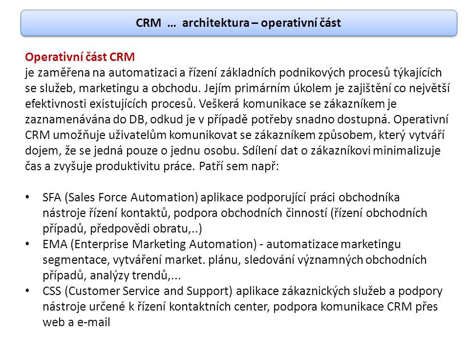 CRM … architektura – operativní část