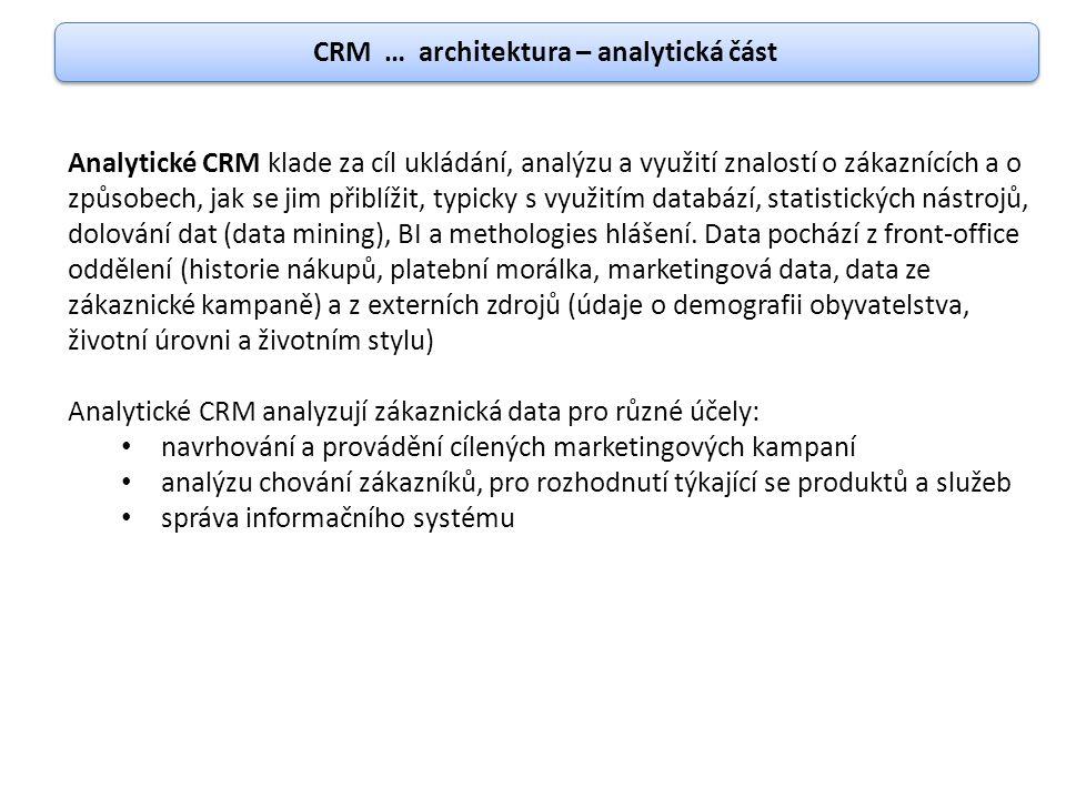 CRM … architektura – analytická část